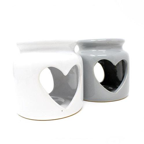 Ceramic Heart Wax Melt Oil Burner, White Heart Wax Melter