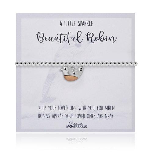 A Little Sparkle 925 Sterling Silver Robin Charm Slider Bracelet