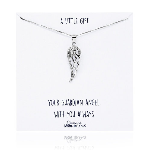 A little gift sterling silver angel wing necklace