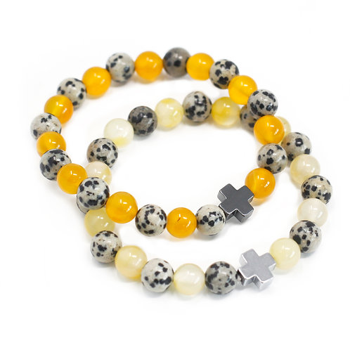 Set of 2 Gemstones Friendship Bracelets - Protect - Dalmation JasperYellow Agate
