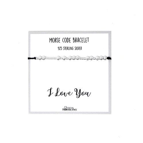 Morse code bracelet I love you 925 sterling silver handmade, gift box