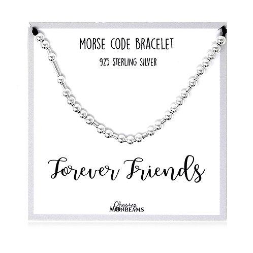 Morse code bracelet Forever Friends 925 sterling silver handmade, gift box