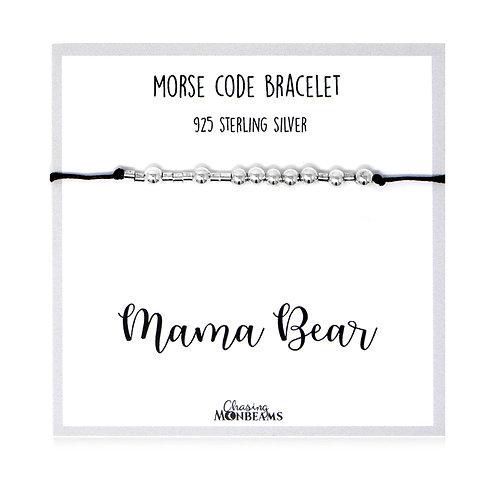 Morse code bracelet Mama Bear 925 sterling silver handmade, gift box