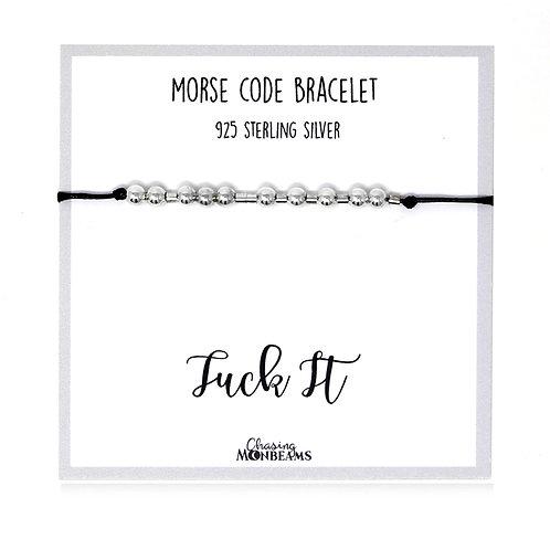 Morse code bracelet Fuck It 925 sterling silver handmade, gift box