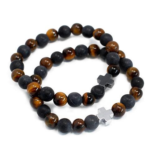 Set of 2 Gemstones Friendship Bracelets -- Power - Tiger Eye & Black Stone