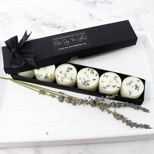 SCENTED TEA LIGHTS Pure Soy Wax Set Of 6 Strong Fragrance