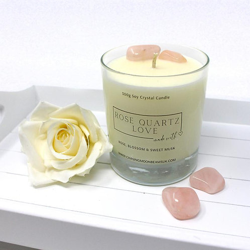 Rose Quartz Crystal Healing Candle Love Gift Boxed