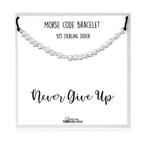 Morse code bracelet Never Give Up 925 sterling silver handmade, gift box