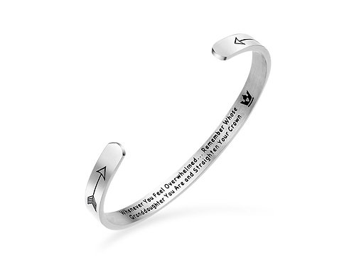 Granddaughter motivational stainless steel cuff bangle