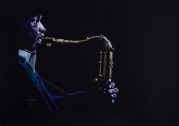 Coltrane - Pastel on Black.JPG