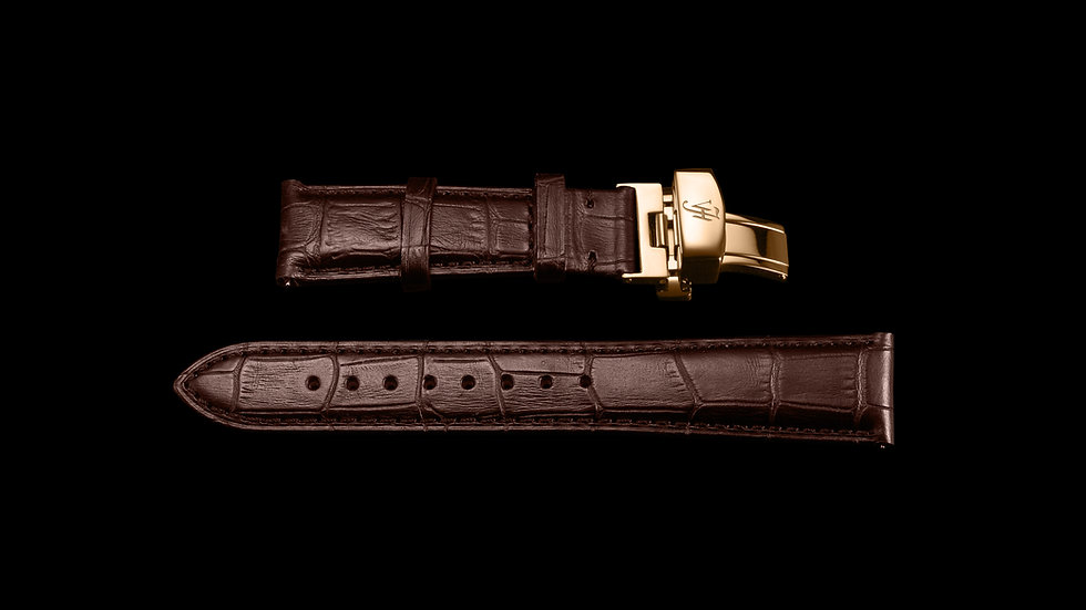 BROWN Classic Style Italian Calf Leather with Rose Gold buckle