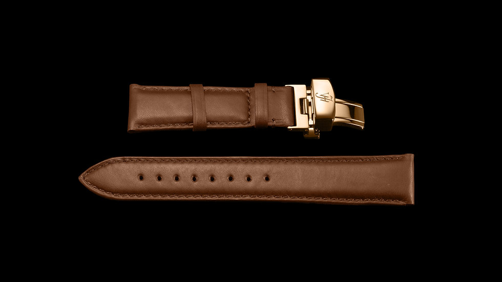 BROWN Aesthetic Style Italian Calf Leather with Rose Gold buckle
