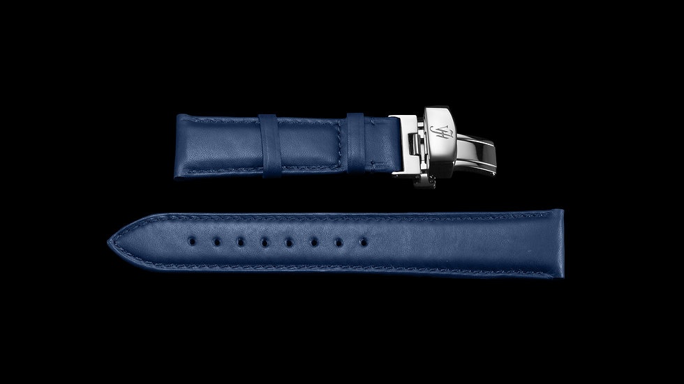 BLUE Aesthetic Style Italian Calf Leather with Silver buckle