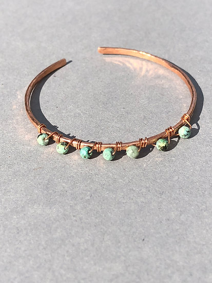 African turquoise and copper cuff