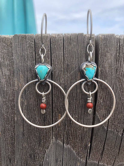 Turquoise triangles and red jasper hoops