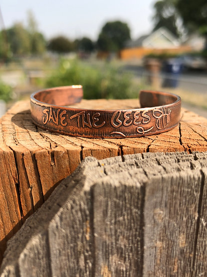 3/8 in save the bees copper cuff