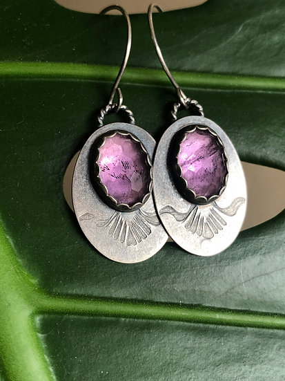 Amethyst ovals with stamped design