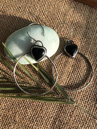 Black Onyx Heart hoops