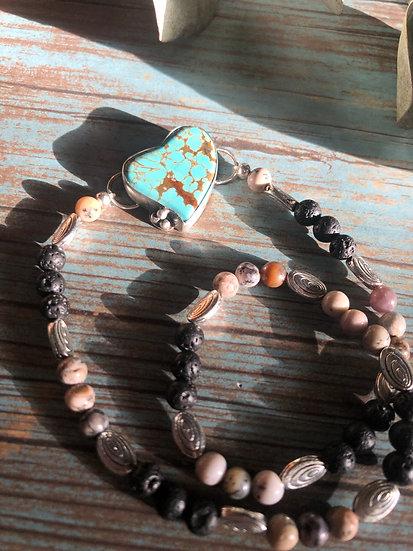 Turquoise Heart Dbl wrap diffuser bracelet