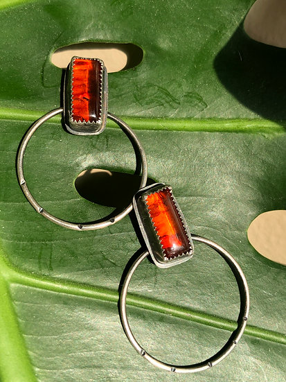 amber rectangle hoops studs