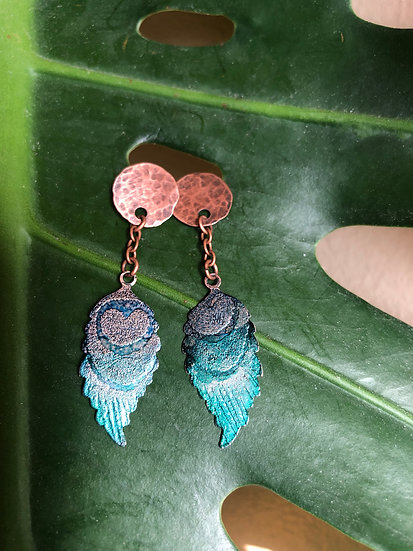 Peacock etched studs