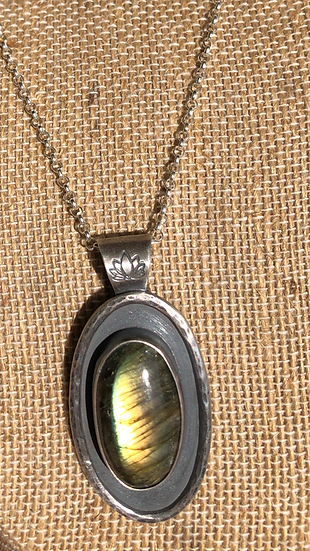 labradorite and lotus necklace