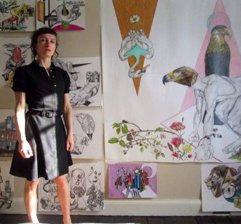 Iona Kewney studio wall of drawings.
