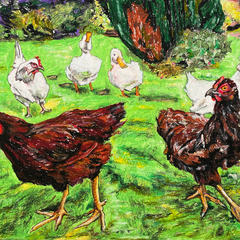 'Out and about, free range' 2021. For Sale.