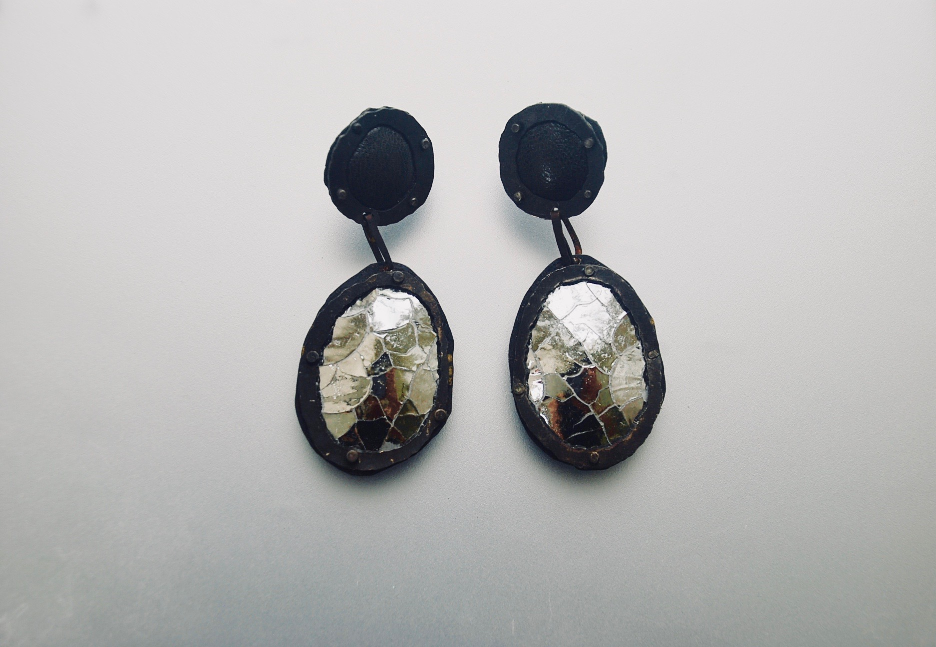 Crackle leather drop earrings