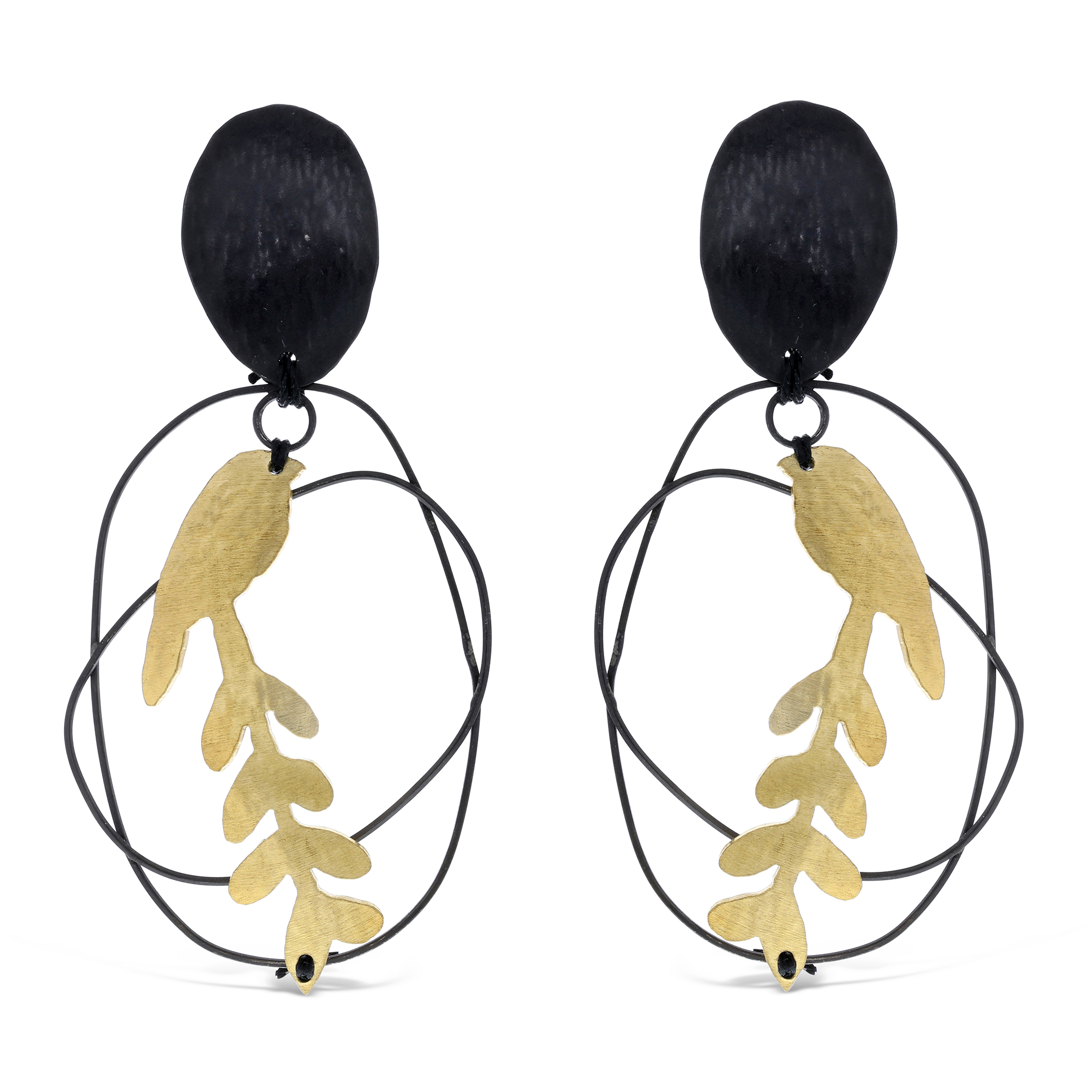 Bird leaf earrings