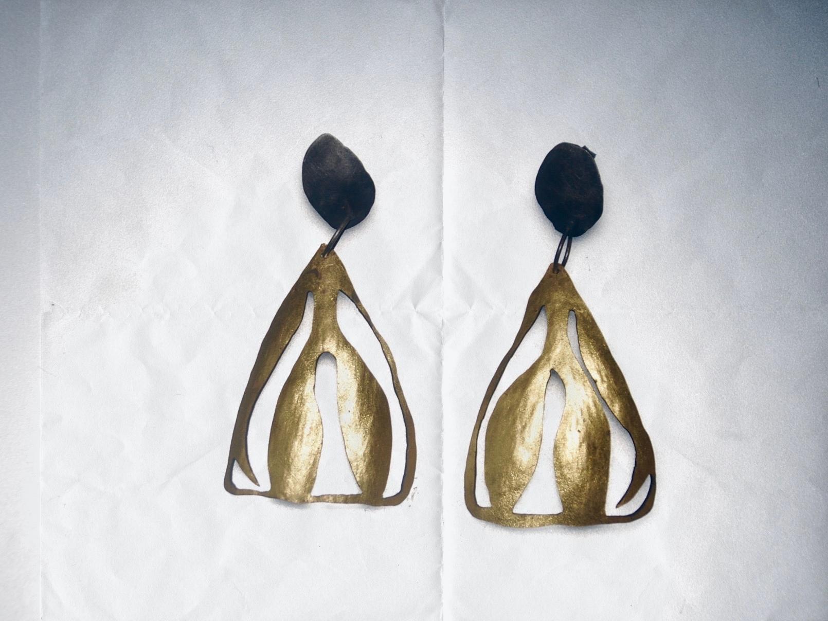 Triangle peony earrings