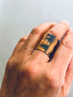 Bronze etched tapa ring