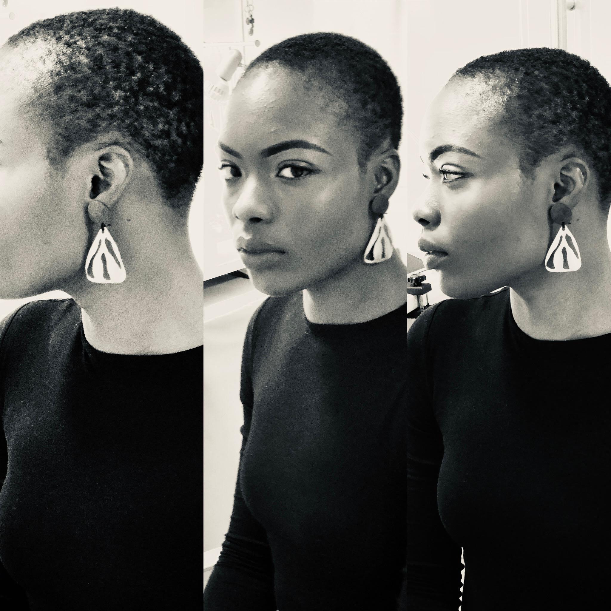 Peony triangle earrings