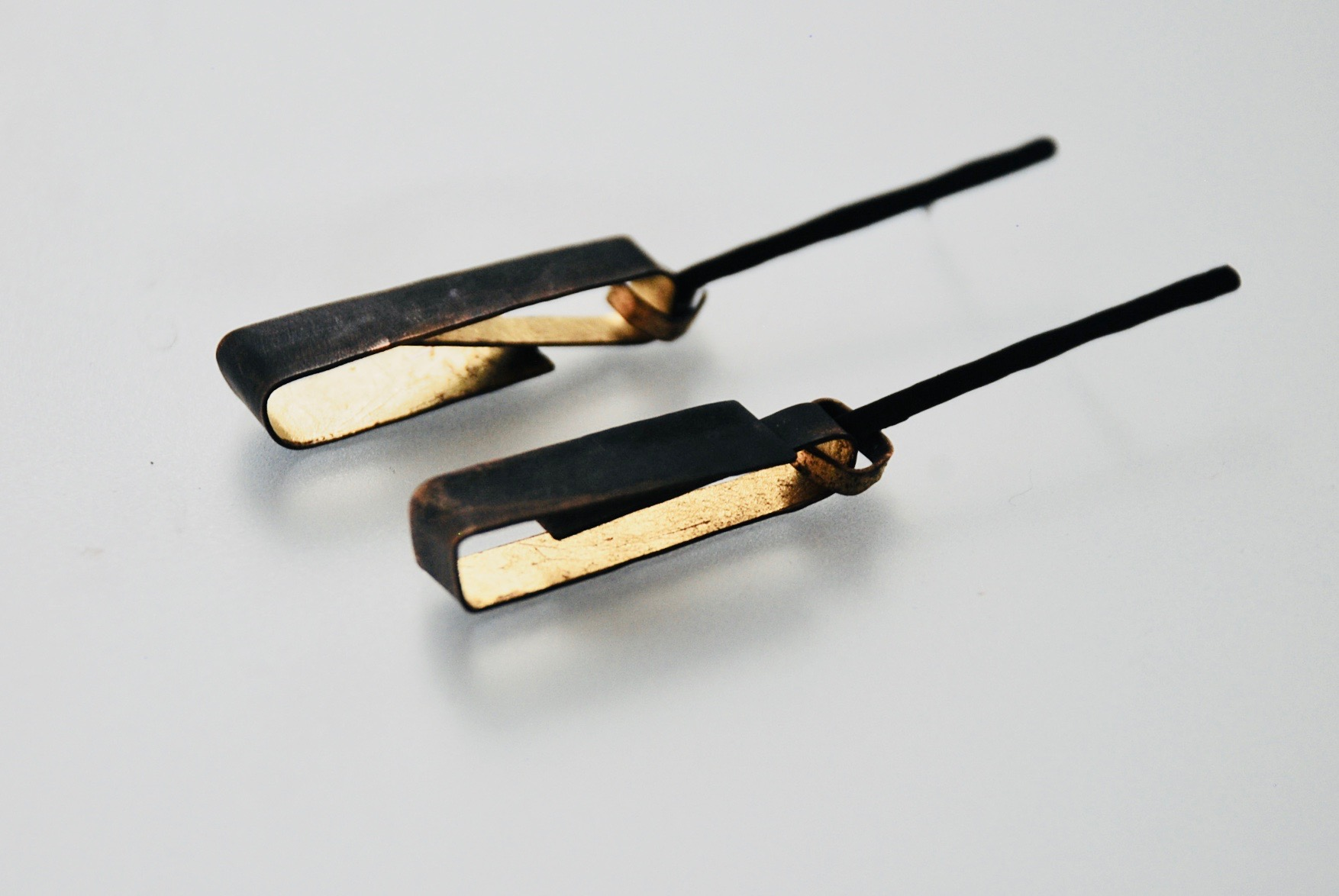 Bronze folded drop earrings