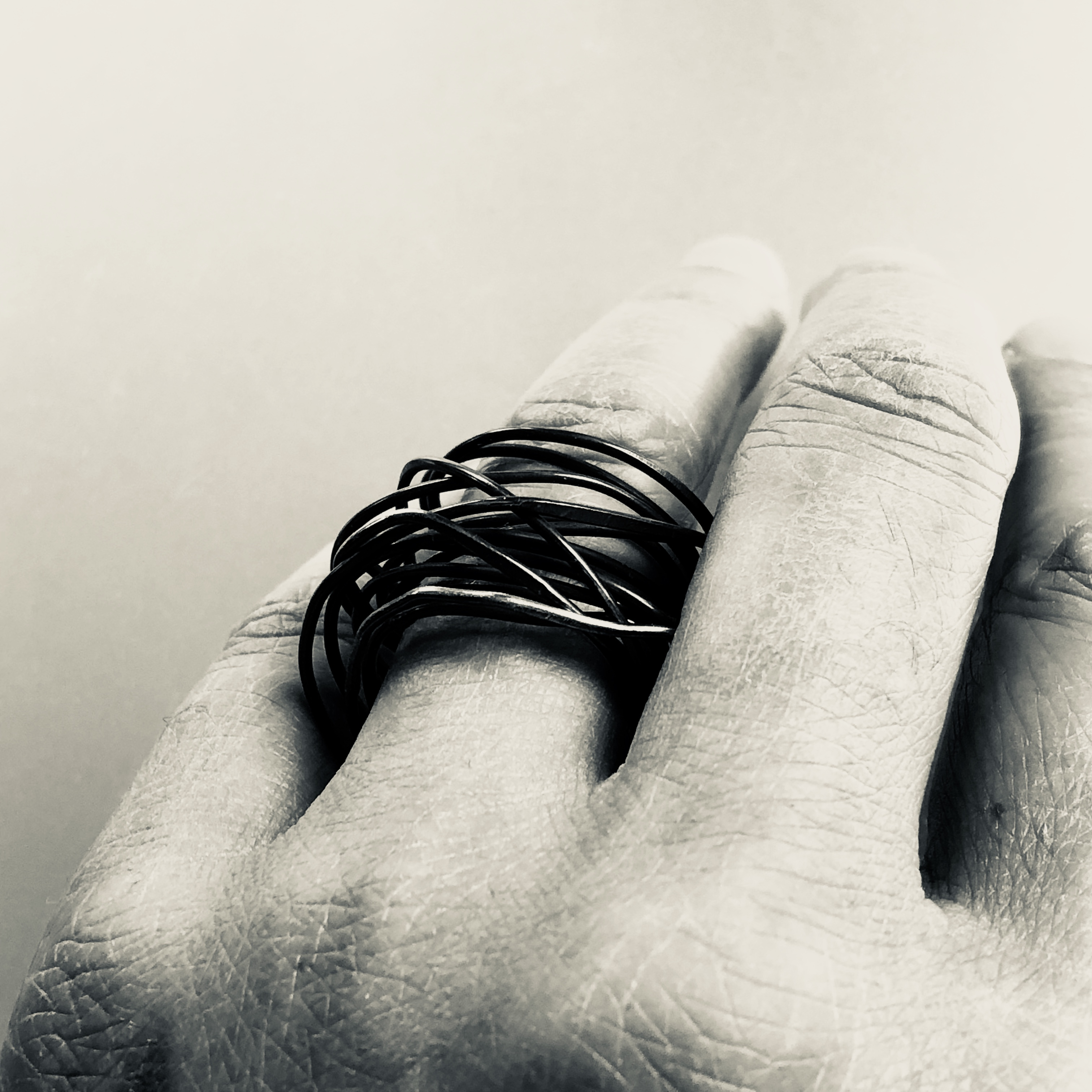 Oxidized infinity ring