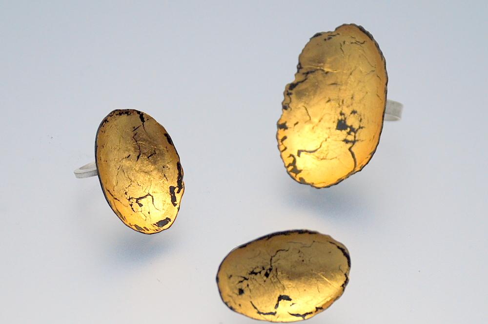 24KY gold leaf dieformed rings