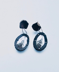 Crackled leather earrings