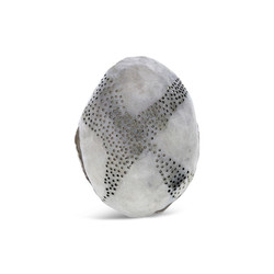 Perforated silver orb ring