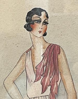 Dessin au crayon et gouache 1930