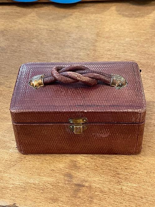 Coffret à bijoux en cuir fin XIXème