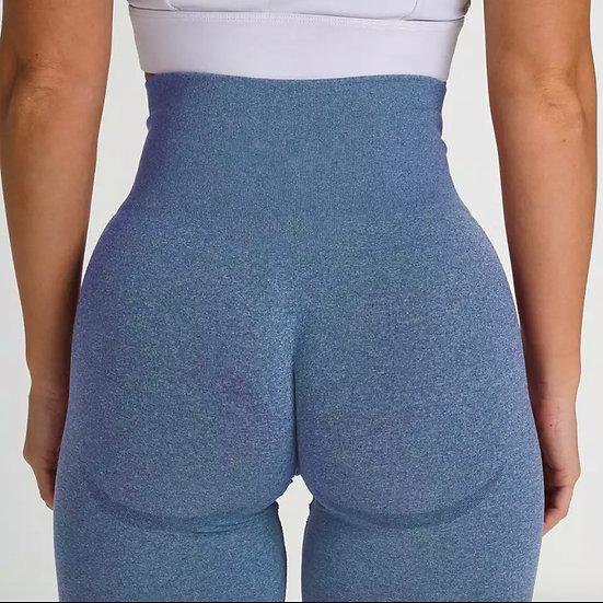 Blue Seamless Booty Biker Shorts