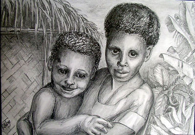 PNG Brother & Sister - pencil drawing ph