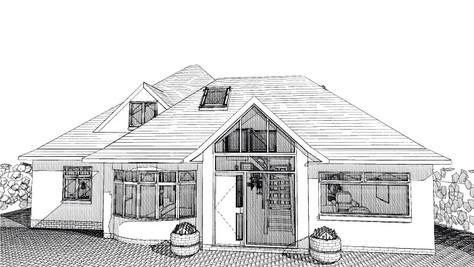 Garage to become feature entrance hall as part of bungalow adaptations - planning approved.