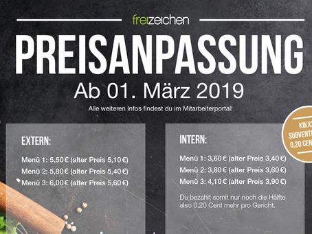 Preisanpassung im freizeichen ab 01. März 2019