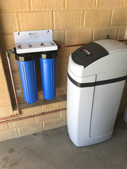In line water filter and water softener