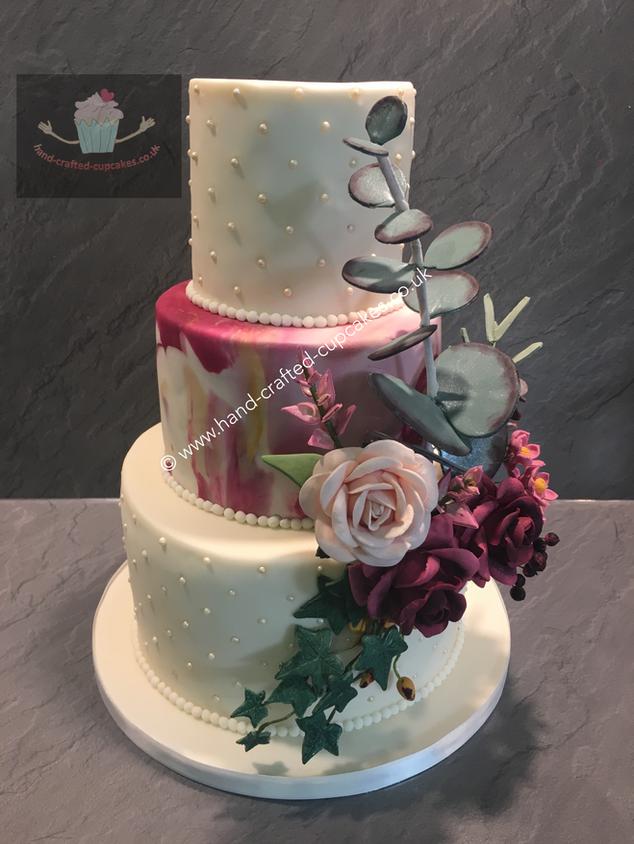FDC-270-Triple-Tier-Marble-Pink-Rose-Wedding-Cake