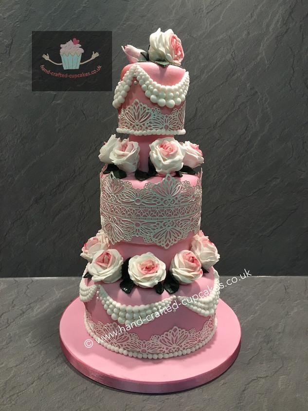 FDC-220-Pink-Triple-Flower-Cake