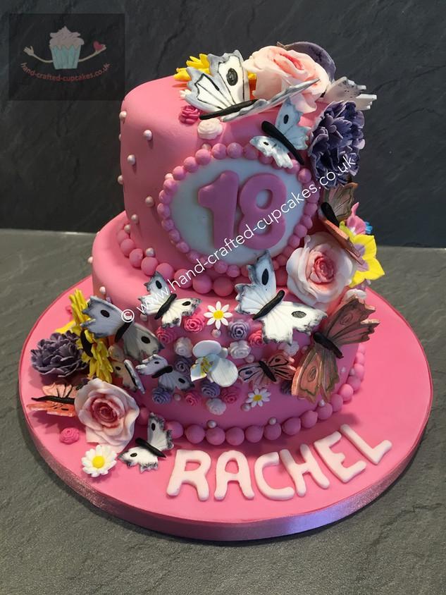 TYA-170-Pink-Flower-Cascade-Cake