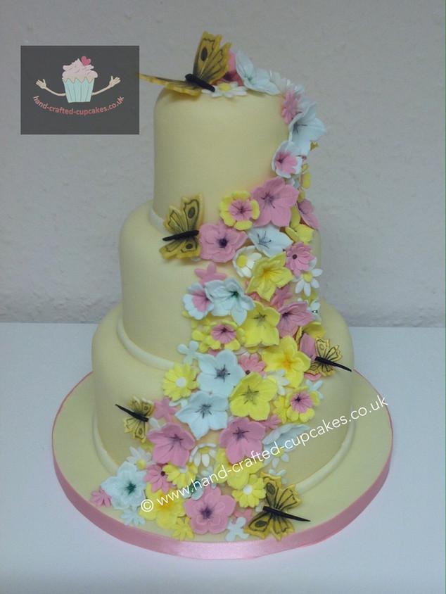 FDC-210-Yellow-Pink-Flower-Cascade-Cake