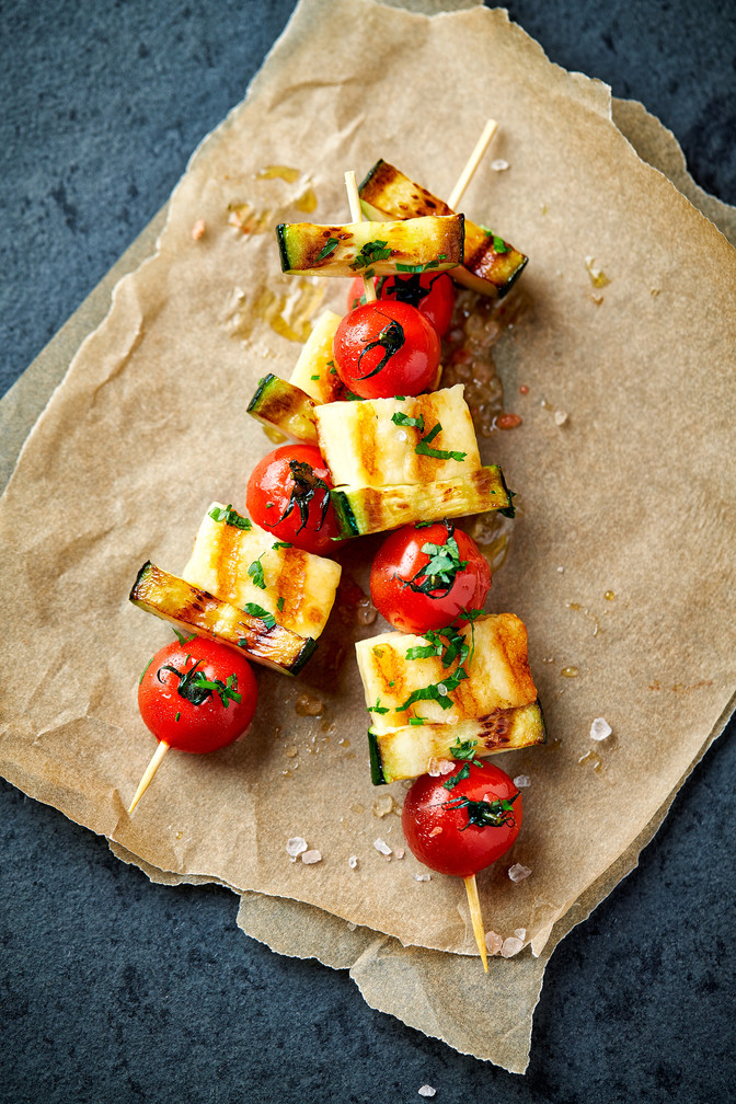 Halloumi and Cherry Tomato kebabs